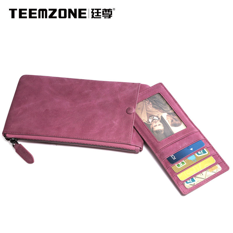 Teemzone Ladies Large Capacity Clutch Bags Brand Women Genuine Leather Fashion Wallet Womens Wallets And Purses Free Shipping womens wallets and purses famous 2016 fashion money clip wallet women luxury brand matte stitching long clutch free shipping