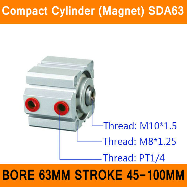 SDA63 Cylinder Compact Magnet SDA Series Bore 63mm Stroke 45-100mm Compact Air Cylinders Dual Action Air Pneumatic Cylinders ISO sda100 30 free shipping 100mm bore 30mm stroke compact air cylinders sda100x30 dual action air pneumatic cylinder