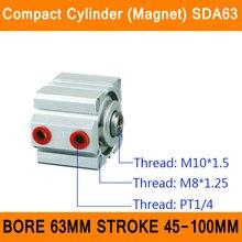 SDA63 Цилиндр Компактный Магнит ПДД Серии Диаметр 63 мм Ход 45-100 мм Компактный Цилиндры Воздуха Двойного Действия Воздуха пневматические Цилиндры ISO