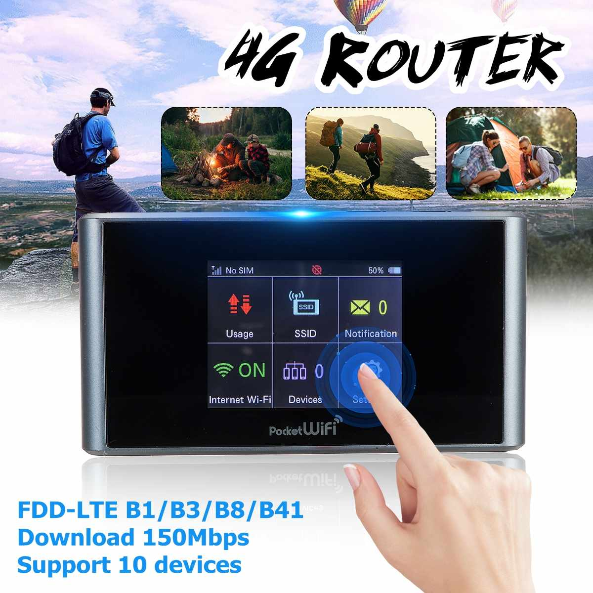 4G Wireless Router  Support SIM Card portable WIFI 4g-900/2100MHz 3g-900/1700/1900MHz 150Mbps4G Wireless Router  Support SIM Card portable WIFI 4g-900/2100MHz 3g-900/1700/1900MHz 150Mbps