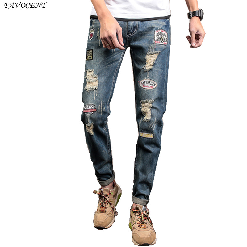 FAVOCENT Spring and summer new hole jeans male Korean version of the trend 2017 Slim pants pants male light wild 2016 pants