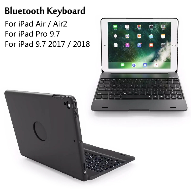 For iPad 9 7 2017 2018 ABS Plastic Wireless Bluetooth Keyboard Protective Cover Case For iPad