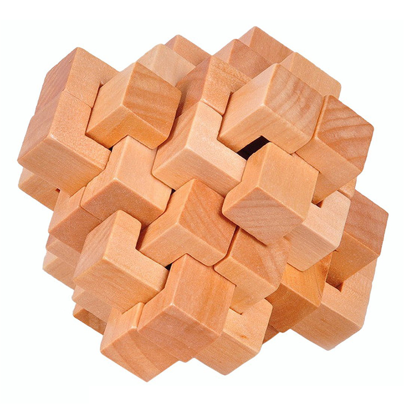 Wood Cube Puzzle Brain Teaser Classic IQ 3D Games  Interlocking Puzzle Popular And Special Toy For Adults / Kids Wood Color