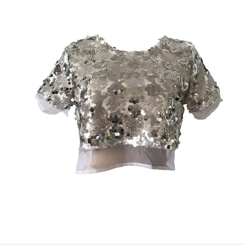 Super New Black/Pink/Sliver Ladies Glitter Sparklette Sequins T shirt BO-77