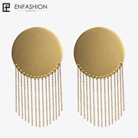Enfashion Vintage Big Disc Dangle Earrings Matte Gold Color Stainless Steel Long Tassel Drop Earrings For