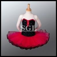 Free Shipping Black Bodies And Red Tulle Skirt Tutu Dresses Children Ballet Tutu Dress Fluffy Ppetti