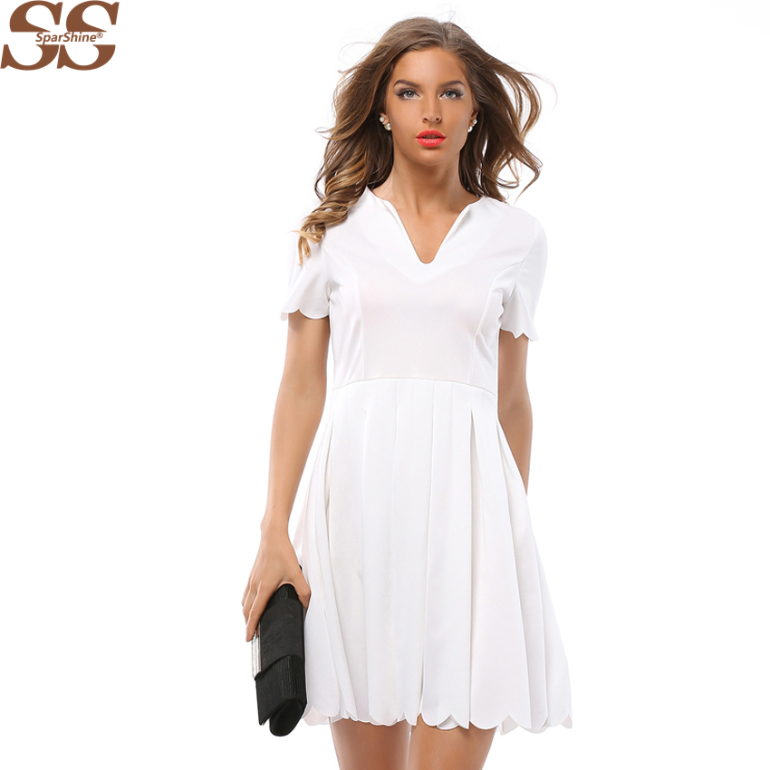 463c7e1aa6a Women Dress Elegant Short Sleeve White V neck Bodycon Solid Party Dresses  Sexy Retro Office Vestidos Casuales De Mujer 2018-in Dresses from Women s  Clothing ...
