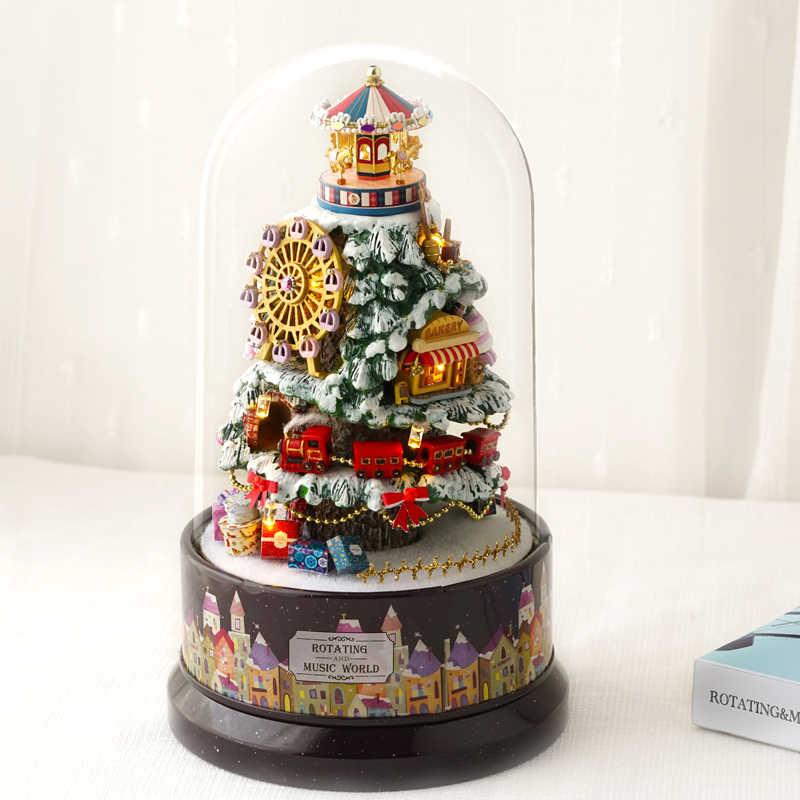 DIY Миниатюрный Кукольный домик с музыкальной коробкой пылезащитный чехол Деревянный Кукольный дом Снежный рай модель строительные наборы подарок для рождения