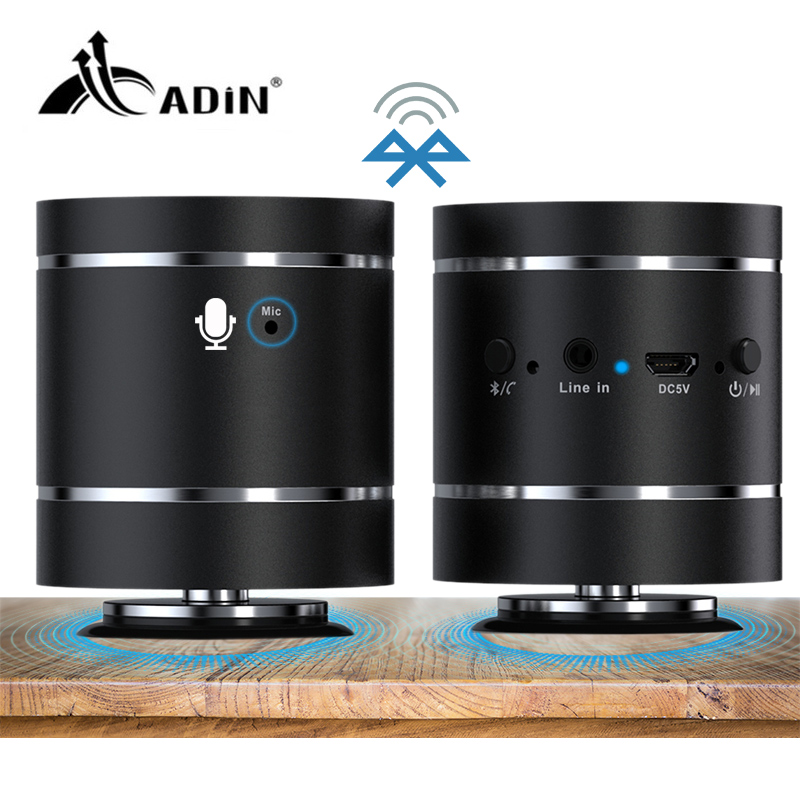 Adin 20W Bluetooth 4.0 Portable Resonance Vibration Speaker Subwoofer Stereo Wireless Handsfree Mini Speakers For Phone With Mic