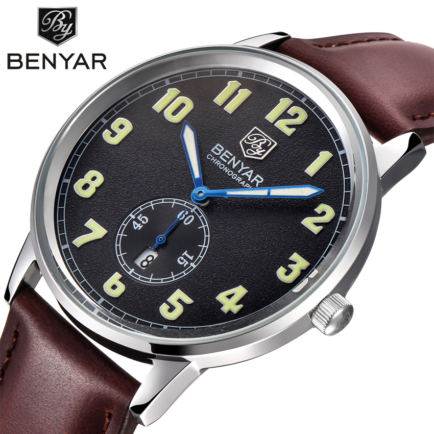 Mens Watches Top Brand Luxury Leather Strap Sports Brown Army Military Quartz Watch Men Wrist Watch Clock relogio masculino benyar luxury brand military watch men quartz analog clock leather strap clock mens sports watches army relogio masculino
