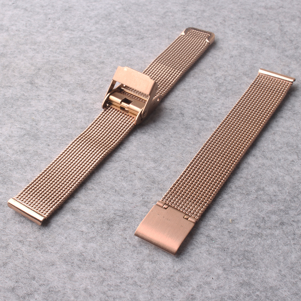 Rose Gold Watchbands metal Stainless Steel milan Mesh Strap Bracelets Watch Band 14mm 16mm 18mm 20mm Folding buckle new arrivel 8 10 12 14 16mm 18mm 20mm 22mm 24mm black silver gold rose gold ultra thin stainless steel milan mesh strap bracelets watch band