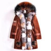 Luxury Lady Real Wool Blend Fur Coat Jacket Raccoon Fur Hoody Fox Fur Placket Winter Women Fur Warm Outerwear Coats LF4175