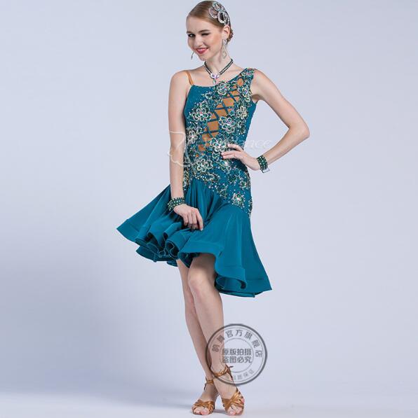 Tassel Latin Dance Dress Clothing Girls Salsa Costume Ballroom Competition Skirt 17219