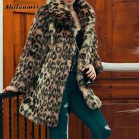 Leopard Furry Coat Womens Faux Fur Coat Plus Size Long Sleeve 2017 Mid long Women Fur Jacket Winter Coat Casaco De Pele Pelud