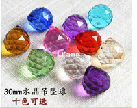 Free Shipping Modern 20pcs/lot 30MM Mixed Colorful Crystal Ball DIY Pendants For Chandelier Parts,Home Wedding /Party Decoration
