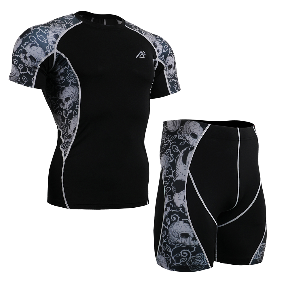 Men's Workout Clothing Set Compression Short Sleeve Shirt & Shorts Quick Dry Clothes for Man MMA Cross Training Rash Guards Gym mcdavid 6300 dual compression knee sleeve