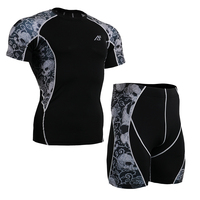 Uomo Allenamento Insieme Dei Vestiti di Compressione Manica Corta Shirt & Shorts Vestiti Asciutti rapidi per L'uomo MMA Cross Training Rash Guards palestra