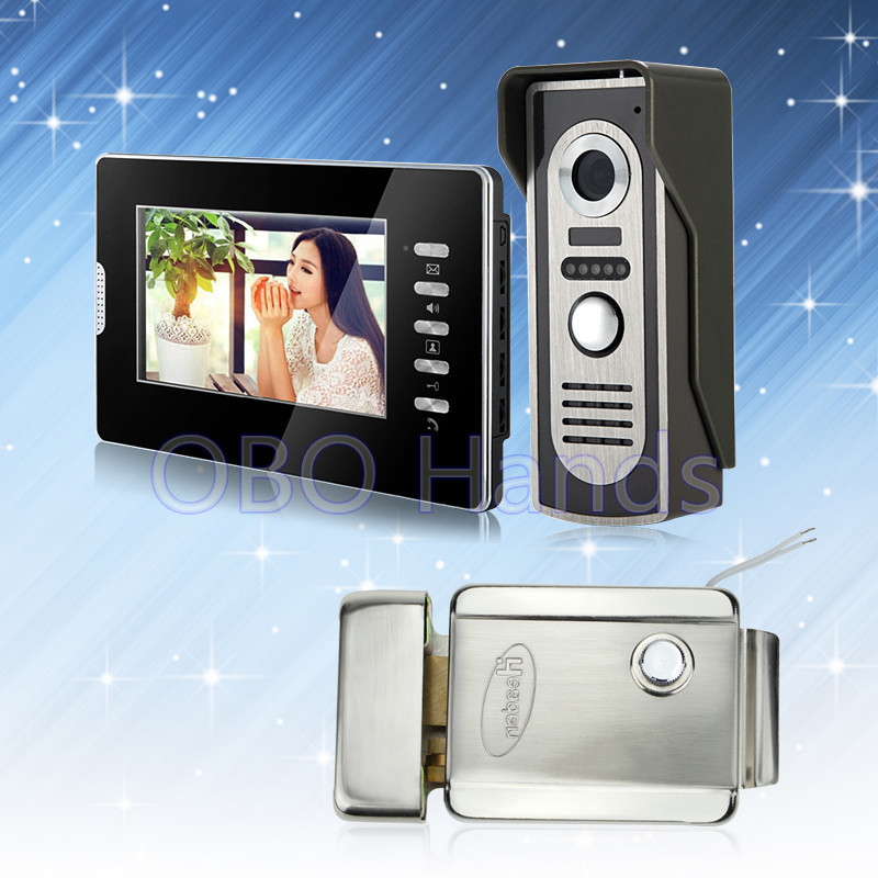 7'' wired color video door phone intercom doorbell system kit set with outdoor IR camera+black monitor+electric lock low price 7 wired color video door phone intercom system video doorbell kit ir outdoor camera with metal panel 1 card reader 2 monitors