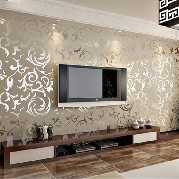 Papel de parede para sala living room pvc wallpaper - Feature wall ideas living room wallpaper ...