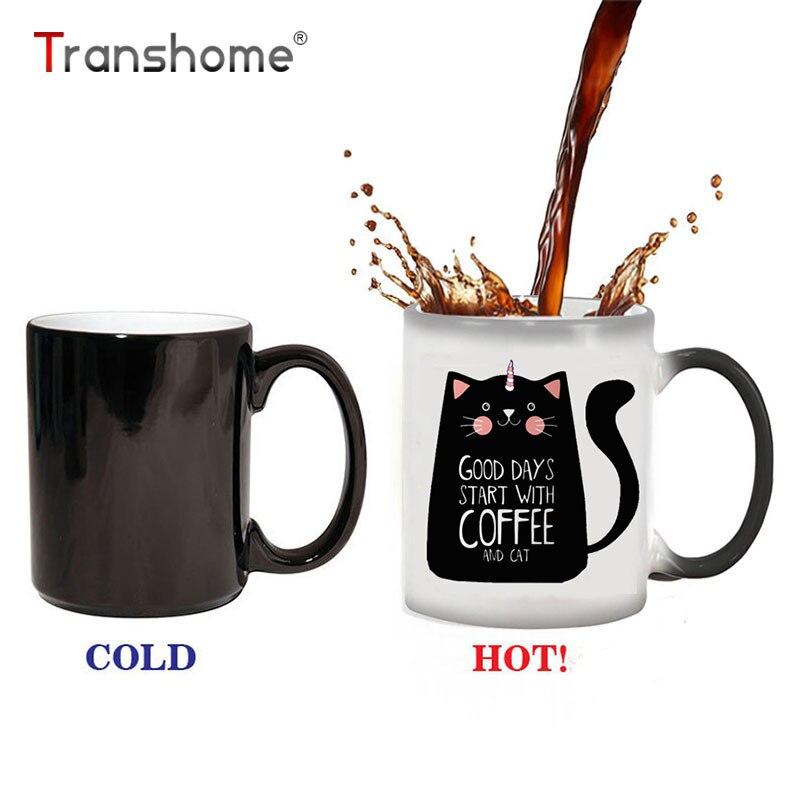 Transhome creativo cambio de color unicornio gato Tazas 300 ml lindo Regalo de Cumpleaños decoloración taza de café de cerámica taza mágica taza caballo
