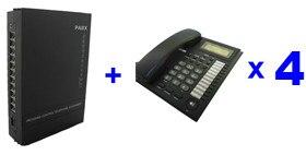 Livraison gratuite-PBX/MINI système PABX SV308 (3 Lignes + 8 Ext Utilisateurs) et 4 pièces téléphone-pour soho d'affaires solution