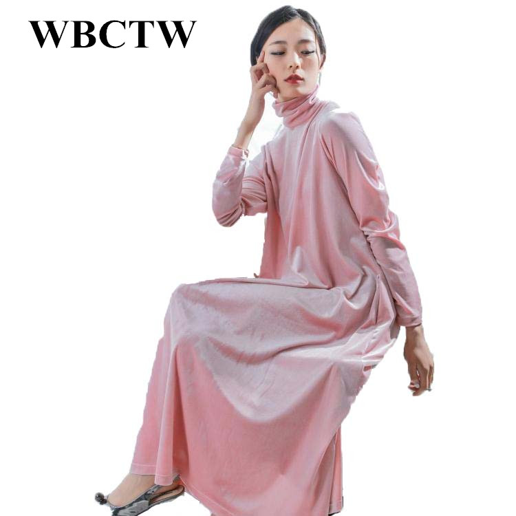 eec4c0b4aa Wbctw invierno Vestido de manga larga vintage sólido casual moda Otoño  terciopelo a-line mujeres más tamaño sexy Vestidos Vadim vestidos