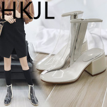HKJL Fashion Women Transparent sandals summer 2018 new high heels women British style spring and autumn A386