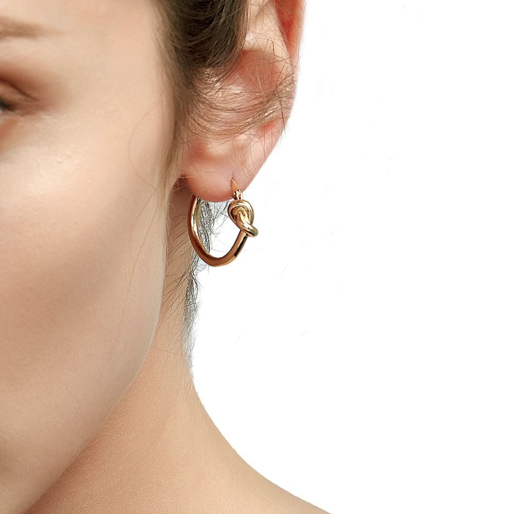 Enfashion Wholesale Classic Knot Hoop Earrings Gold color Earings Round Earrings For Women Jewelry oorbellen ohrringe