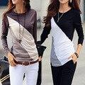 New Arrival Free Shipping Women Tee Tops 2016 Fashion Cotton Long sleeve T-shirt O-Neck Mixed Color T-Shirt  B608