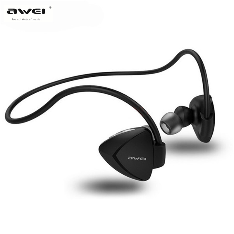 AWEI A840BL Waterproof Bluetooth Earphone with Mic for Iphone Sport Stereo Wireless Earphones for Android Headset New new arrival awei a840bl wireless sports bluetooth 4 sweat proof for iphone android mp3 mp4 ipad ipod with microphone