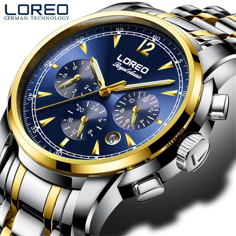 купить LOREO Automatic Mechanical Watches Self Winding Men watch Sport Brand Luxury Moon Phase Month Week WristWatch Relogio Masculino дешево