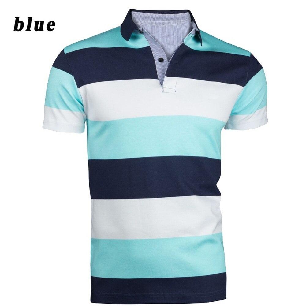 9bf9827c02e Zogaa Men s Fashion Polo Shirts Striped Casual Short Sleeve Polo Shirt  Contrast Color Slim Men Polos