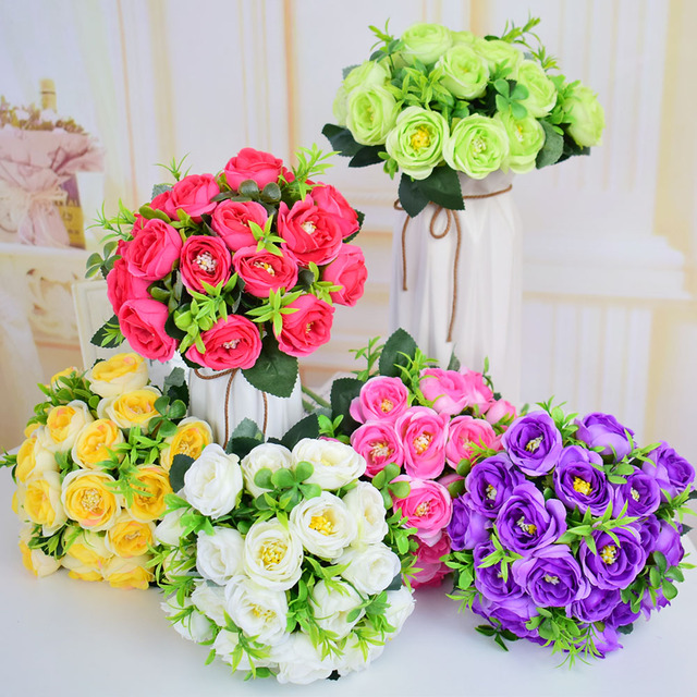 Aliexpress buy small silk roses artificial flowers wedding small silk roses artificial flowers wedding bridal bouquets mariage for home tabletop decoration white purple green mightylinksfo