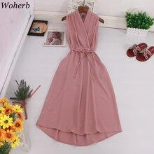 Woherb-Vestidos largos de estilo coreano para mujer, ropa sin mangas, de estilo veraniego, ceñido a la cintura, con cuello en V, Elegante, para oficina, 2021