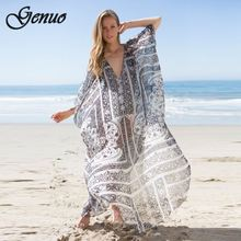 Genuo Boho long dress 2019 rayon green floral print sexy v-neck short sleeve beach wear summer dress chic women dress vestido все цены