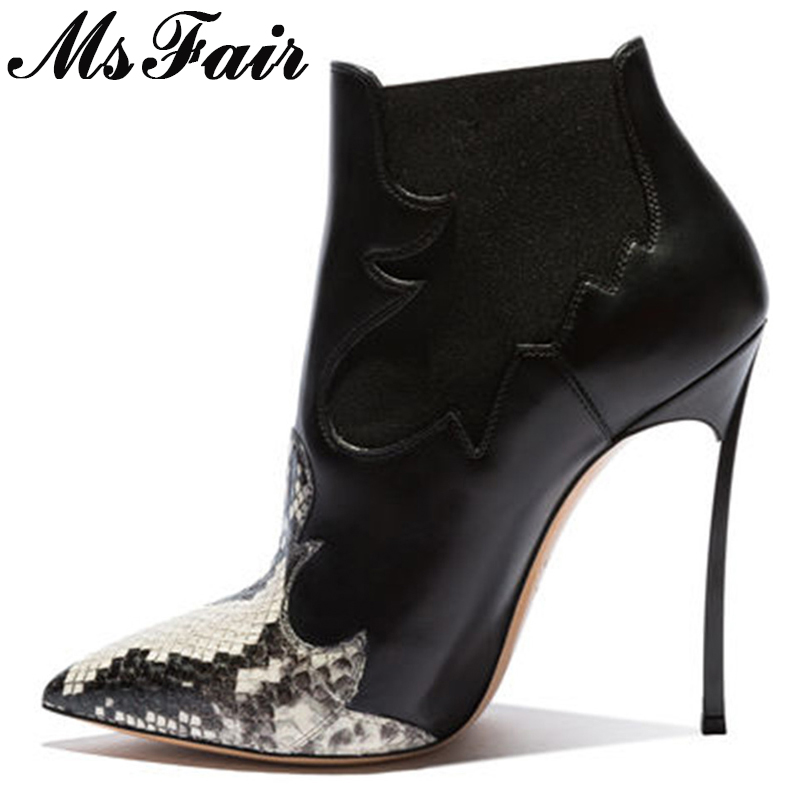 MSFAIR Women Boots Fashion Pointed Toe Stiletto heel Ankle Boots Women Shoes High Heel Short Plush Leopard Boot Shoes For Girl цены онлайн