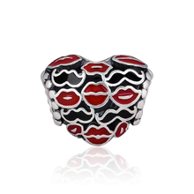 CKK 100% Genuine 925 Sterling Silver Red Lips Heart Shaped Beads Suitable For Original Pandora Bracelet DIY Jewelry Accessories