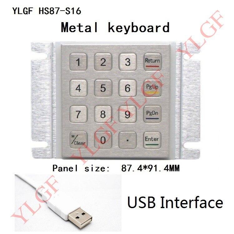 Metal tastatur, YLGF HS87-S16-U USB-interface 16 nøgleindlejret tastatur Vandtæt (IP65), støv, anti vold