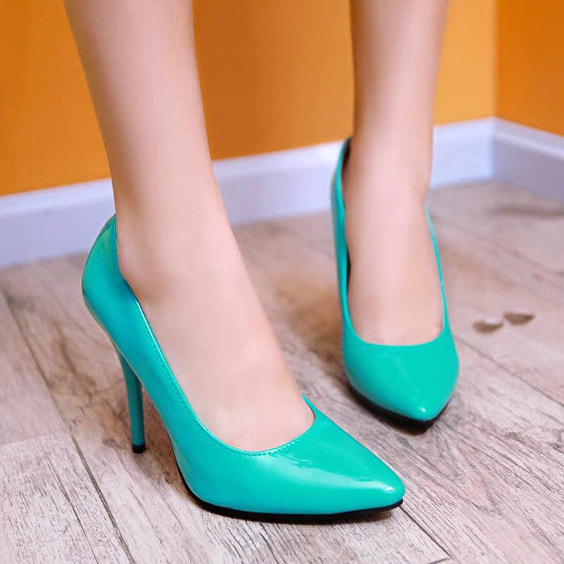 MEMUNIA 2020 גדול גודל 48 נשים משאבות pu הבוהן מחודדת אביב קיץ נעליים אחת סקסי דק עקבים גבוהים מסיבת חתונה נעלי אישה