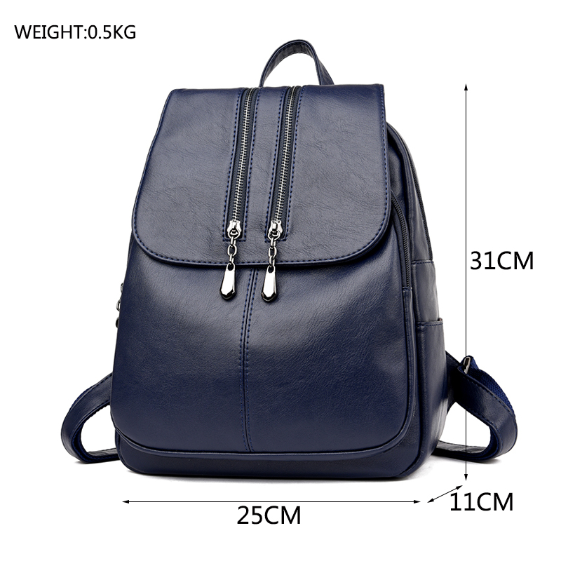 Casual Double Zipper Backpack Female Large Capacity School Bag For Girl Brand Leather Shoulder Bag For Women Lady's Bag #3