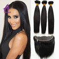 Top 8A Mink Brazilian Virgin Hair With Closure Brazilian Straight Hair With Closure Ear To Ear Lace Frontal Closure With Bundles