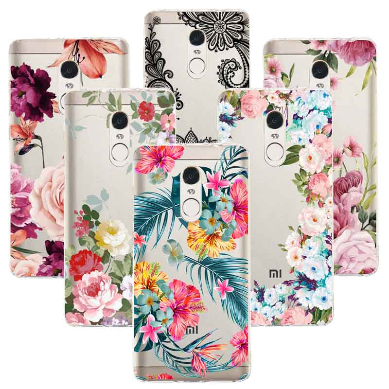 <font><b>Sexy</b></font> Floral TPU Phone Case For Redmi Note 4 4X Note <font><b>7</b></font> Pro Cover For Xiaomi 5X A1 6X A2 Mi 8 Xiaomi 9 Lace Flower Silicone Cases image