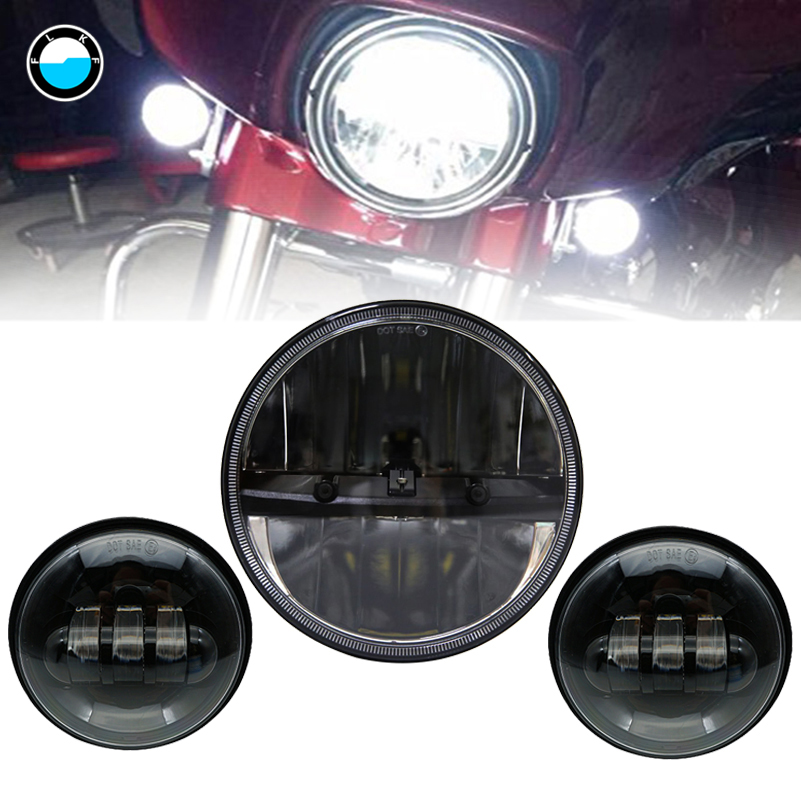 7inch LED Projector Headlight Passing Light +4.5 Inch Passing Lamps Fog Lights Fit Harley Softail Deluxe Slim Fat Boy FLD. passing