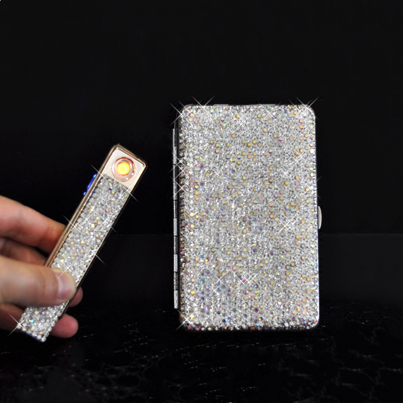 Creative Crystal With Led Light Car Ashtray Shiny Diamond Cigarette Case Box Charging Windproof Plasma Lighter Slim For Women