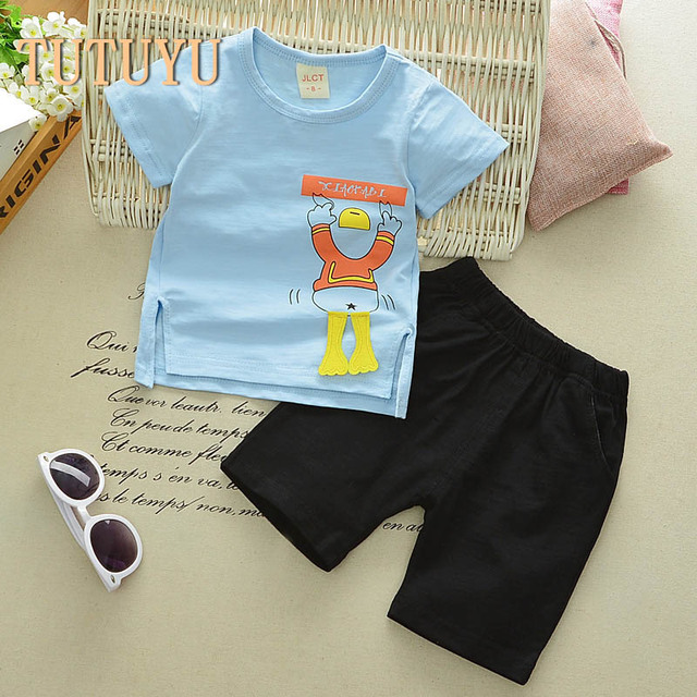 3498923a27e4 TUTUYU 2018 new baby T shirt two piece shorts suit boy summer suits ...