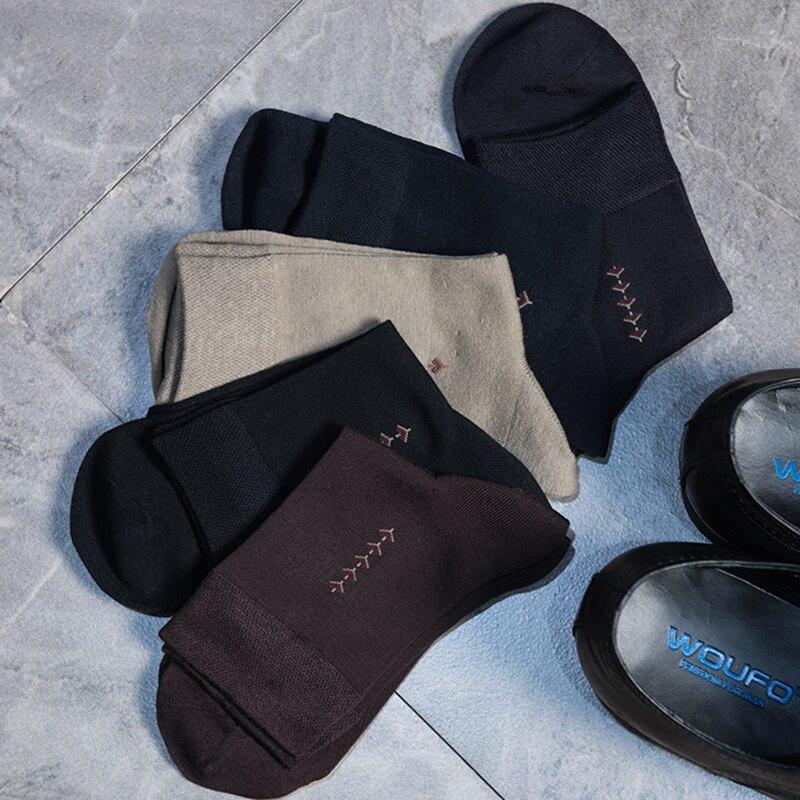 5 Pairs/Lot Male Ropa Meia Longa Business Breathable Short Bamboo Socks Men Meia Pure Black/Blue Fashion Crew Sokken Masculino