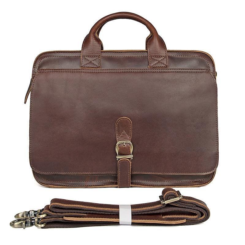 Genuine Leather Leisure Briefcase Large Laptop Business Handbag For Men