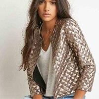 BringBring 2017 Spring Fashion Gold Sequins Short Jacket Women Short Sleeve Jackets For Women Prism Sequins