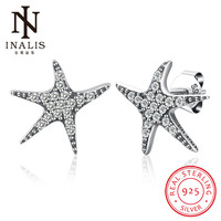 INALIS Starfish Design White Gold   Fine   Stud   Earrings   Zircon 925 Sterling Silver Romantic Gift for Women Party Dress Mother's Day