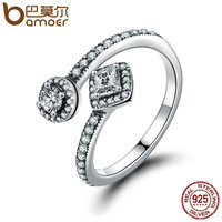 BAMOER 100 925 Sterling Silver Round Square Dazzling CZ Open Finger Ring For Women Wedding Engagement